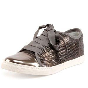 Lanvin Gunmetal Snakeskin Textured Sneakers